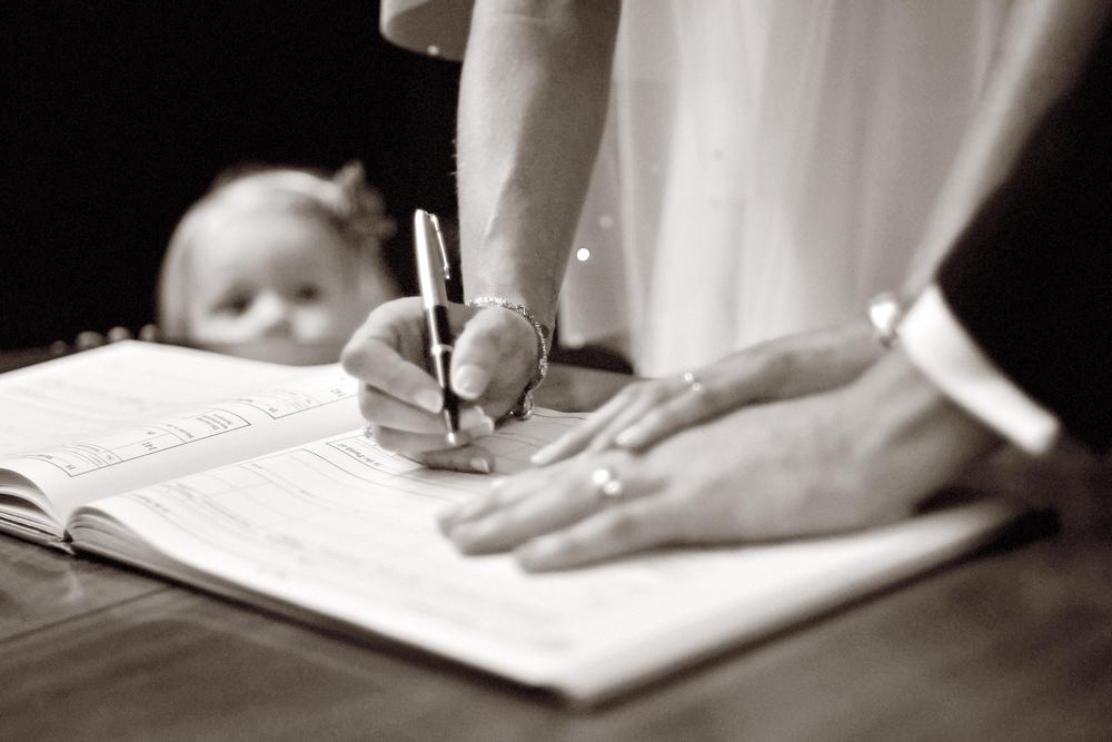 Bride, groom, register, baby