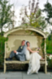 bride, groom, Styal Lodge, bench