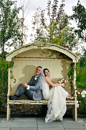 bride, groom, Styal Lodge, bench