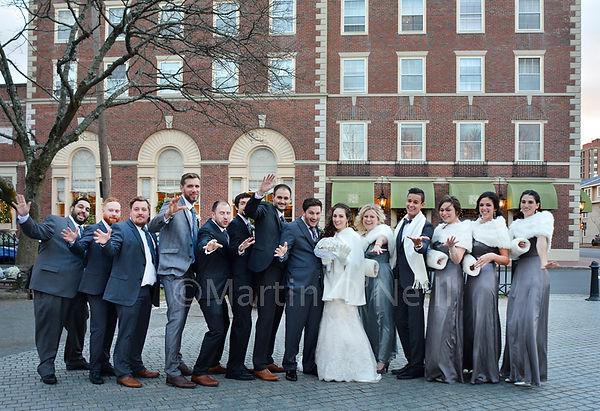 Bride, groom, bridesmaids, ushers