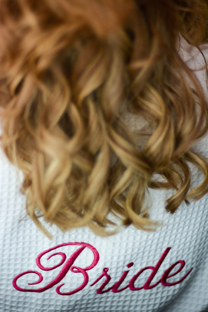 Bride, hair, dressing gown