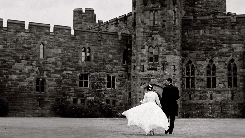 Bride, groom, Peckforton Castle