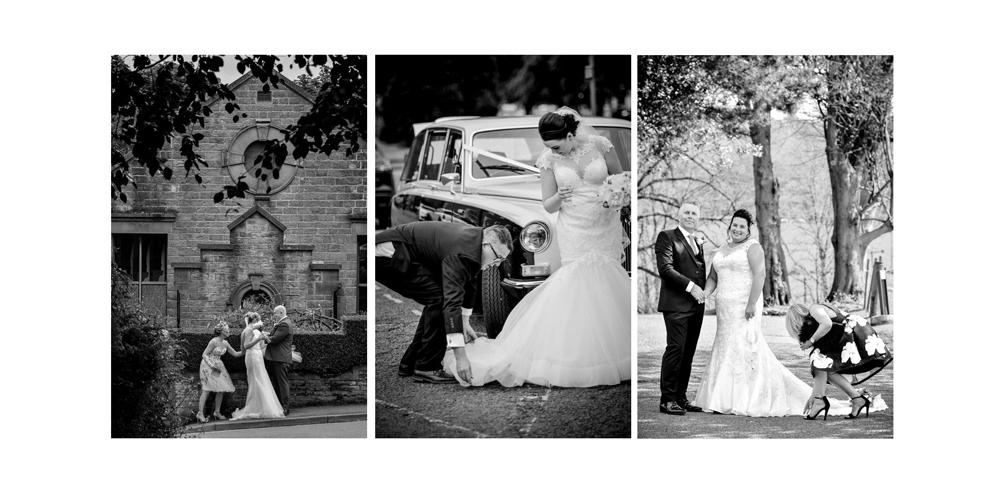 Wedding guests help bride