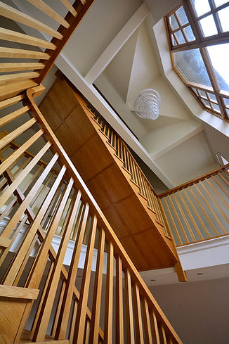 Wooden staircase, hallway, entrance hall, lamp-shade, balcony