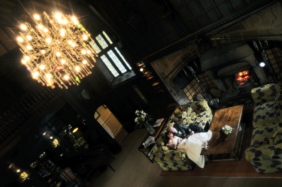 Bride and groom, Mitton Hall