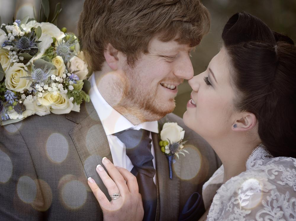 bride, groom kiss