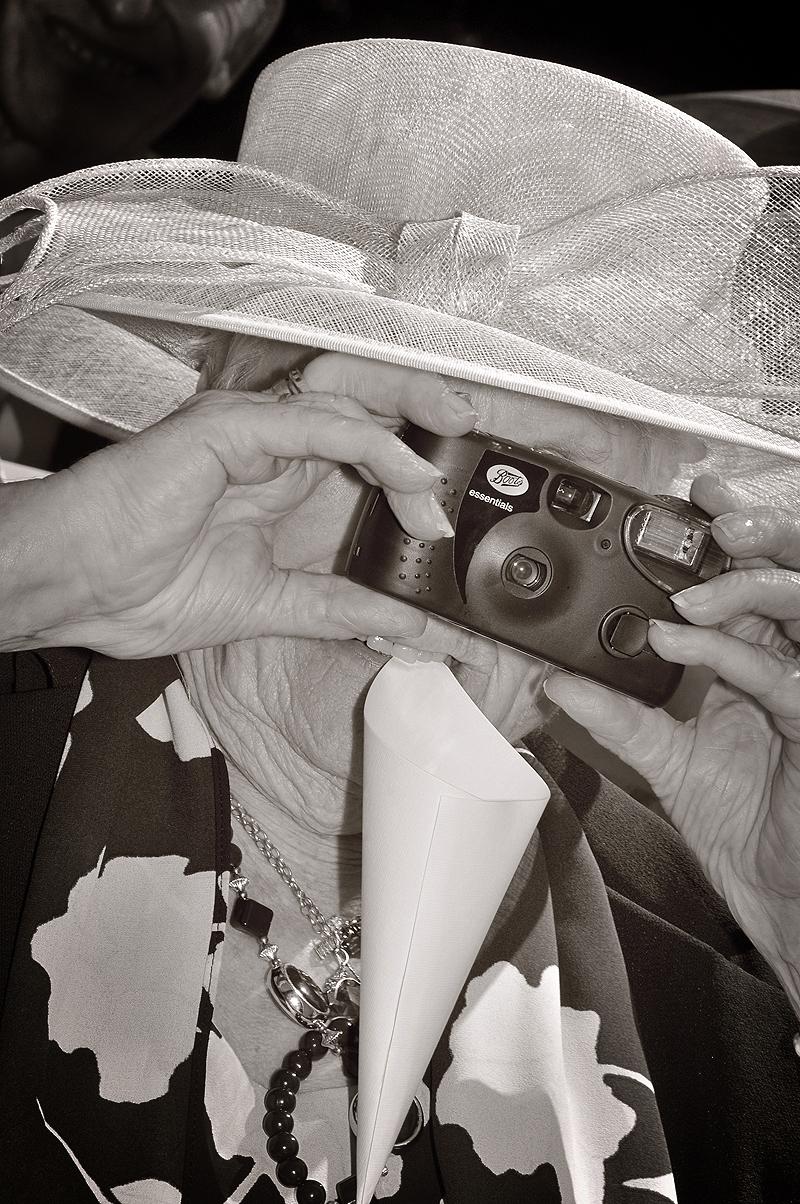 Camera, old lady, confetti