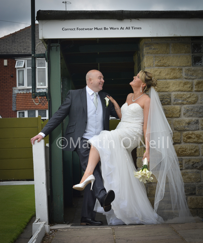 Brides shows off her shoes