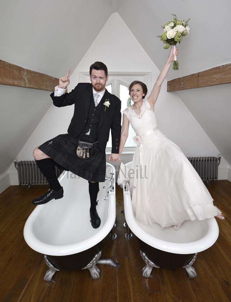 Bride, groom, kilt, bath