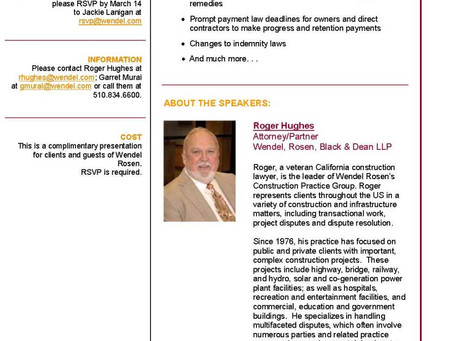 """Join us on March 21, 2013 for """"What's New in California Construction Law"""""""