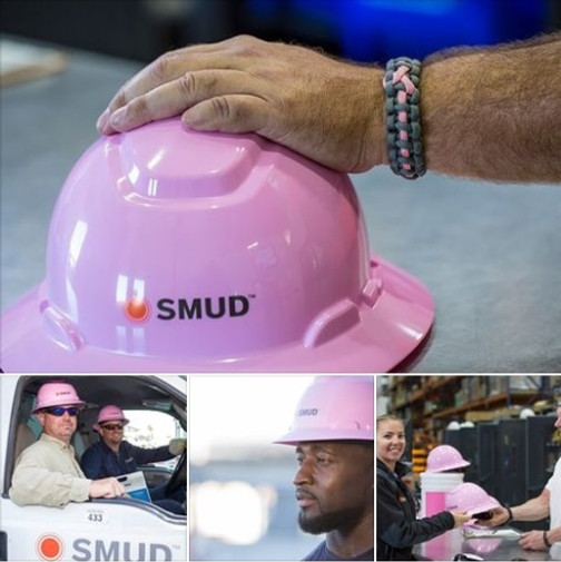 SMUD pink hardhats