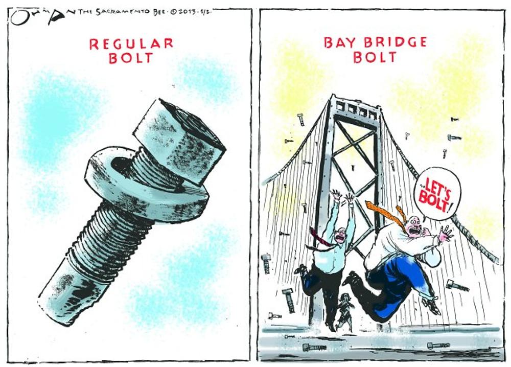 Bay Bridge bolt cartoon