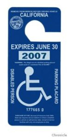 Disabled parking placard