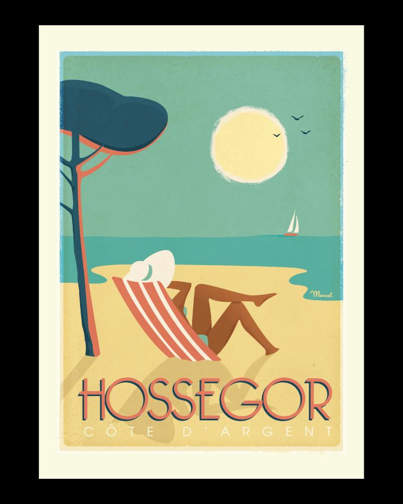 Affiche_vintage_HOSSEGOR_Côte_d'Argent_