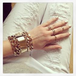 Bracelet plaqué or oversize