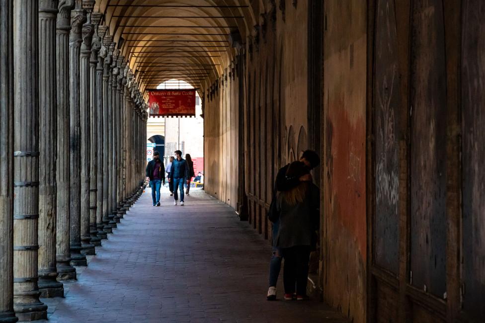 More porticos in Bologna, capital of the Italian Emilia Romagna region.