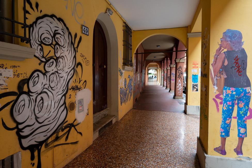 Graffiti in the Italian city of Bologna