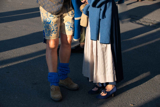 Many people wear traditional Bavarian costumes