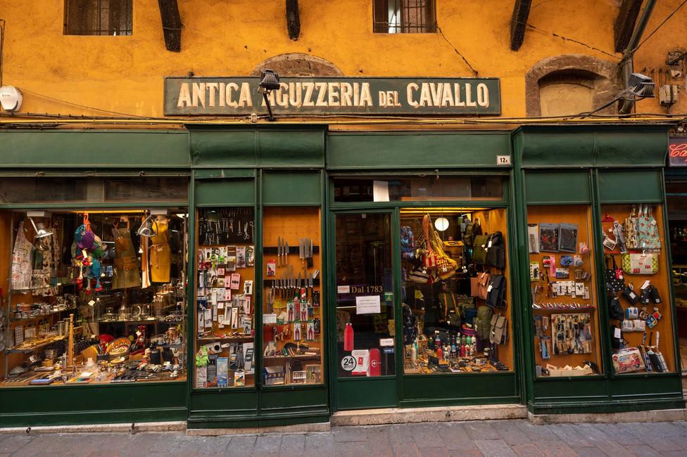 Historical knife shop in Bologna