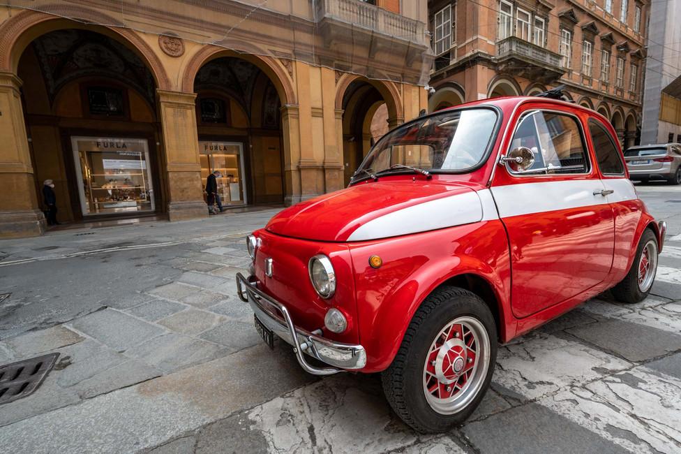 The classic Fiat 500 model in Bologna