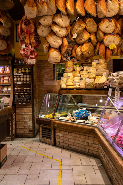 Rich food shop in Bologna, which is known for its culinary achievements