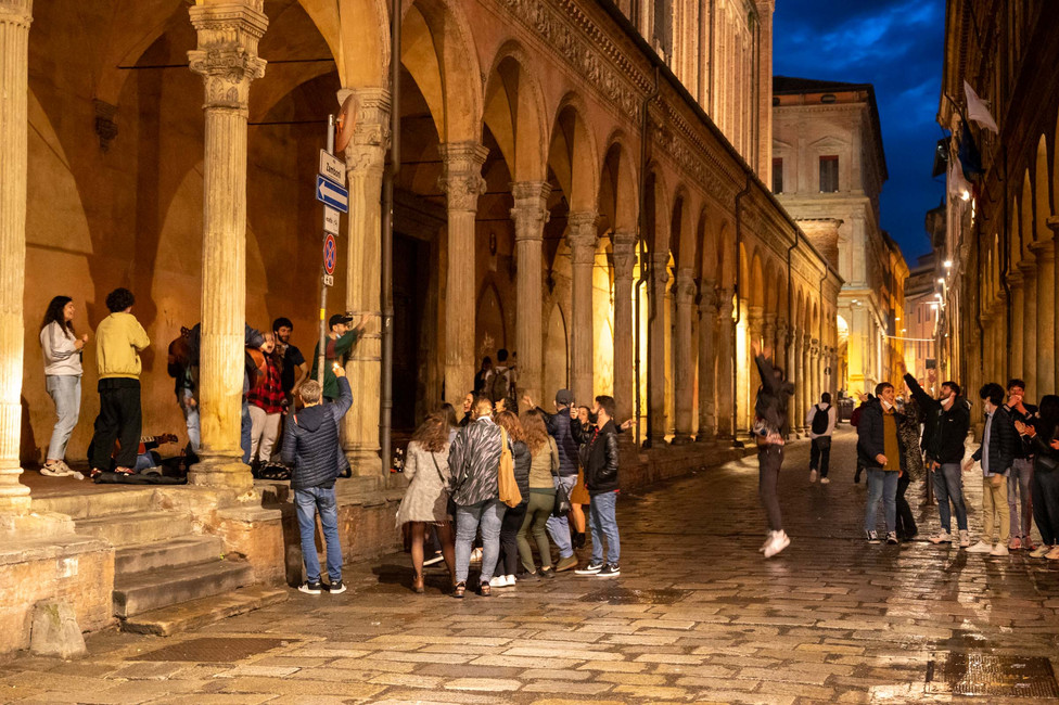 Students celebrate 1st of May under the arcades