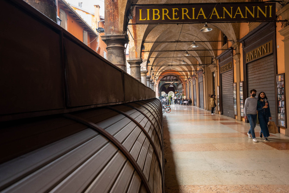 Bookshop stalls in Bologna's arcades
