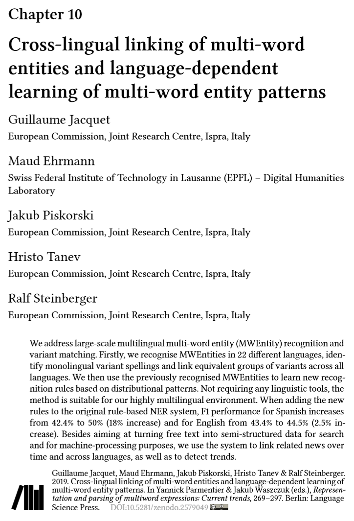 Cross-lingual linking of multi-word entities and language-dependent learning of multi-word entity patterns. Guillaume Jacquet et al. 2019.