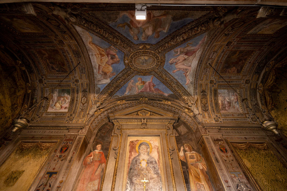 Interior ceiling at Basilica Santo Stefano in Bologna