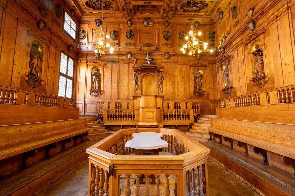 Anatomical theatre at Archiginnasio museum in Bologna. Doctors used to take corpses apart for study purposes on the white marble table while students and colleagues were watching.
