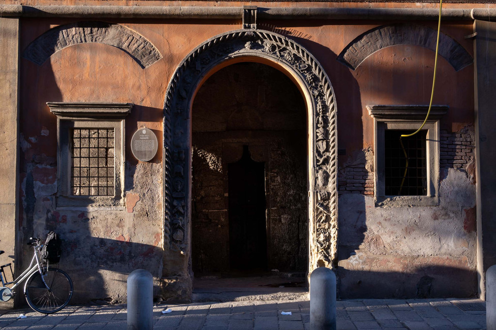 Entrance to the twelfth century gender tower in Bologna