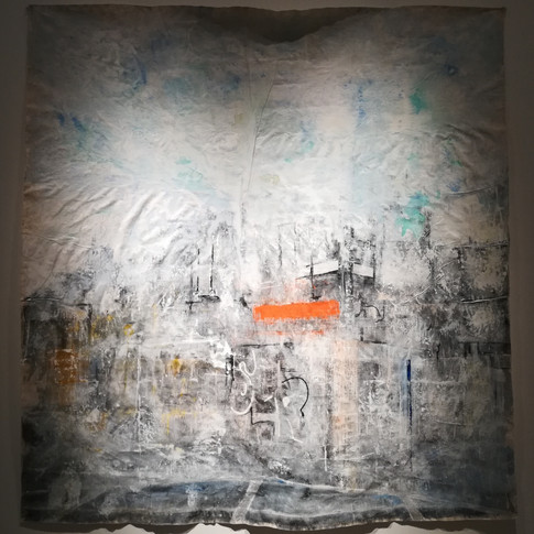 Disintegration - 2019 Mixed media on unstretched canvas 270 x 270 cm