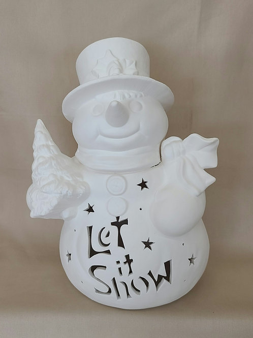 Personalized Light-up Snowman w/Tree