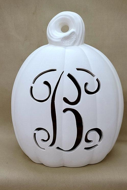 LG Vine Font Monogram Lighted-up Pumpkin Oval