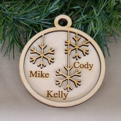 Personalized Laser Cut Snowflake Ornament