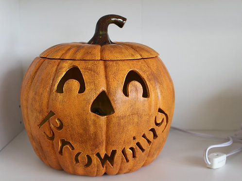 Personalized Light-up Ceramic Pumpkin