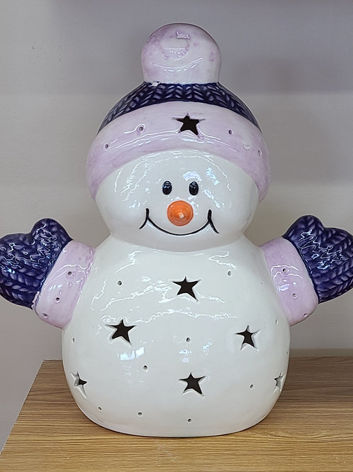 Personalized Light-up Ceramic Fleece Snowman