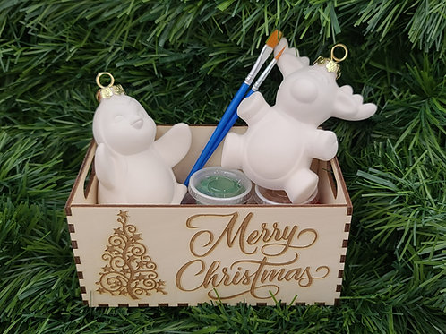 Christmas Ornament (3D Reindeer & Penguin)Pottery to Go
