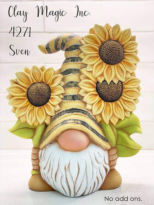 Deposit for Pre-order Sven the Gnome w/ 🌻Sunflowers Pottery to Go Kit
