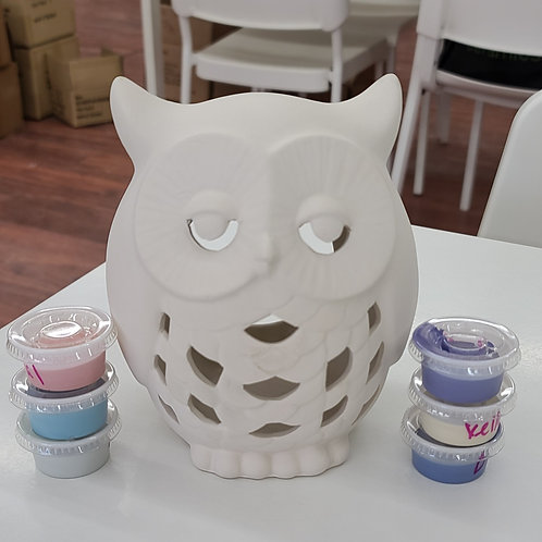 Owl Lantern large Pottery to Go Kit
