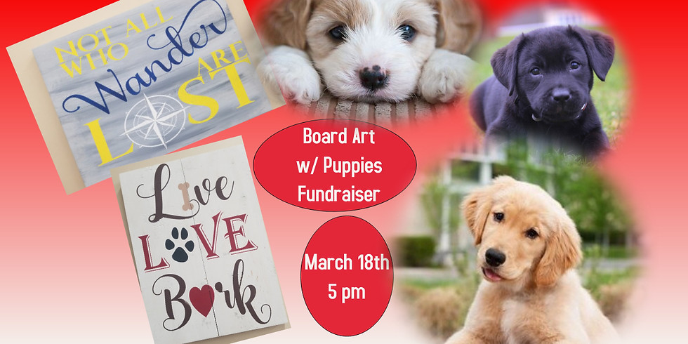 Board Art Painting with Puppies