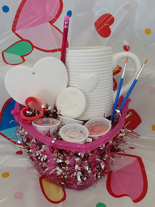 Valentin's Day Basket (Heart Mug Tin Can& Ornament)Pottery to