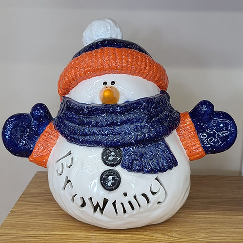 Personalized Light-up Ceramic Snuggles the Snowman