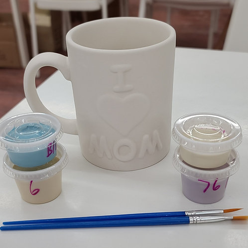 I Love Mom Mug Pottery to Go Kit