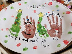 Christmas Platter with Hand and Feet