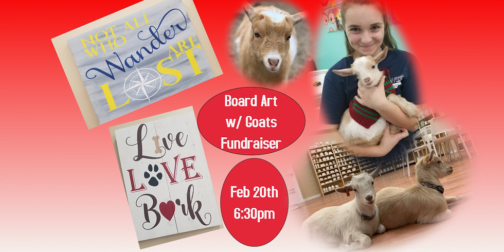 Board Art Painting with Goats