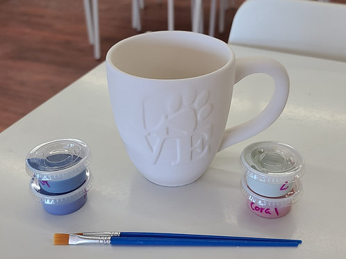Paw print Love Mug Pottery to Go Kit