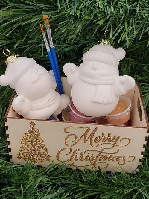 Christmas Ornament (3D Snowman & Santa)Pottery to Go