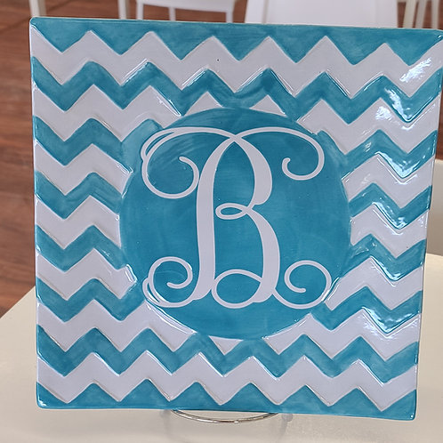 Chevron Plate with Letter stencil Pottery to Go Kit