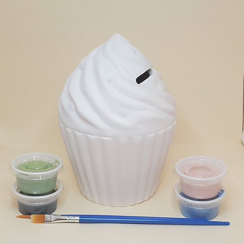 Large Cupcake Bank Pottery to Go Kit